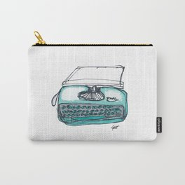 """Type"" Hand Drawn Typewriter Teal Carry-All Pouch"