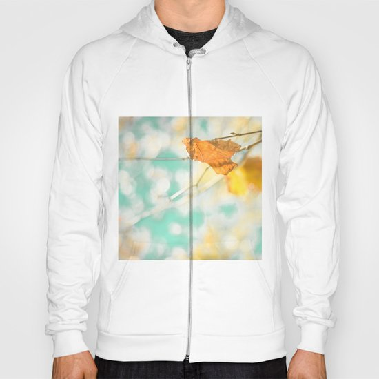 Gold Autumn Fall Leafs on Dreamy Blue Turquoise Vintage Retro Sky  Hoody