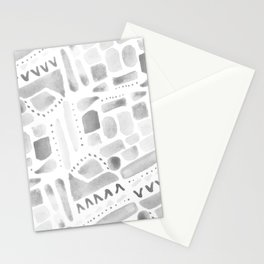 Watercolor Pattern Play in Black Stationery Cards
