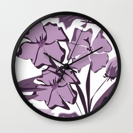 Lilac and violet flowers. Wall Clock