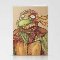 ninja turtle Stationery Cards featuring zombie ninja turtle by mileshustonart