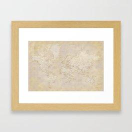 Vintage world map in sepia and gold, Kellen Framed Art Print