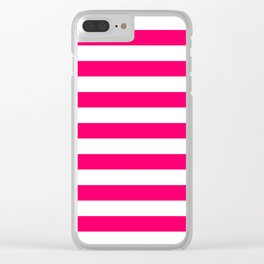 Bright Fluorescent Pink Neon and White Large Horizontal Cabana Tent Stripe Clear iPhone Case