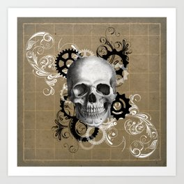 Skull With Gears and Floral Ornaments Art Print