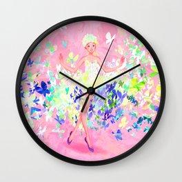 Butterflies dress petal pink Wall Clock