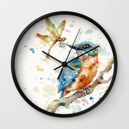 Interesting Relationships (Kingfisher & Dragonfly) Wall Clock