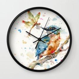 Interesting Relationships (Kingfisher & Dragonfly) Wall Clock