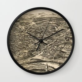 Vintage Pictorial Map of Roanoke Virginia (1891) Wall Clock