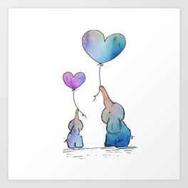 Colorful Watercolor Elephants Love Art Print