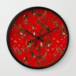 Monkey World Red Wall Clock