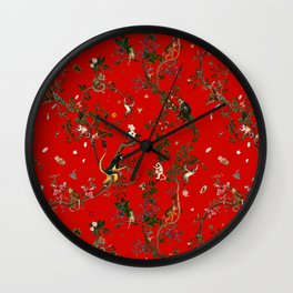 Monkey World Red Wall Clock