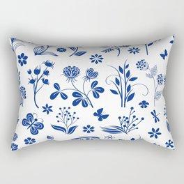Blue Floral Toile  Rectangular Pillow