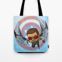 falcon Tote Bags featuring Falcon by Meekobits