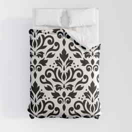 Scroll Damask Big Pattern Black on White Comforters
