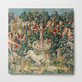 The Unicorn is Attacked (from the Unicorn Tapestries) 1495–1505 Metal Print