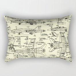 F-18 Blueprints // Parchment Rectangular Pillow
