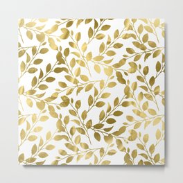 Gold Leaves on White Metal Print