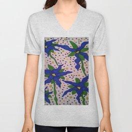 Blue Floral Polka Dots Unisex V-Neck