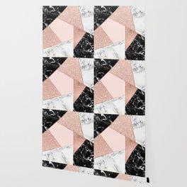 Modern rose gold glitter black white marble geometric color block Wallpaper