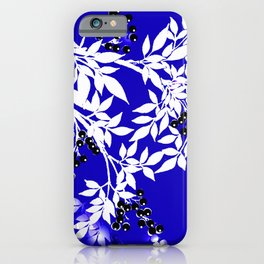 LEAF AND TREE BRANCHES BLUE AND WHITE BLACK BERRIES iPhone Case