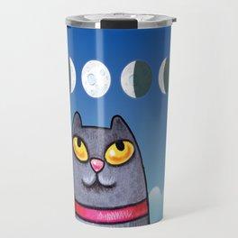 Cat looking at the moon Travel Mug