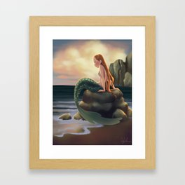 Beached Mermaid Framed Art Print
