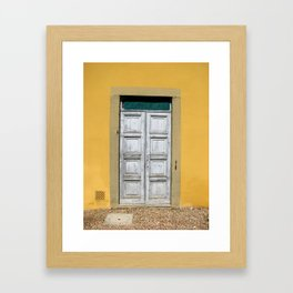 White Door on Yellow Castle Wall in Tuscany Italy Framed Art Print