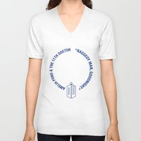 amy pond V-neck T-shirts featuring Doctor Who pals: the 10th Doctor & Amy Pond (white version) by logoloco