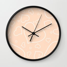 Peach - Apricot and White Hearts Wall Clock