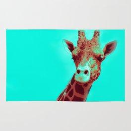 Mr. Giraffe Pop Art (red + teal) Rug
