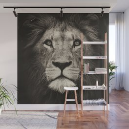 Portrait of a lion king - monochrome photography illustration Wall Mural