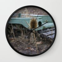jeep Wall Clocks featuring Vintage Jeep by Stephanie Bosworth