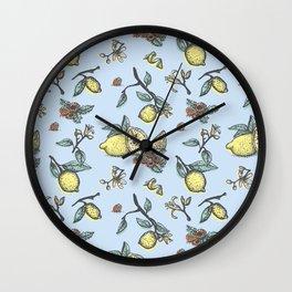 Lemon&raspberry pattern Wall Clock