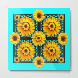 SOUTHWESTERN STYLE TURQUOISE SUNFLOWERS Metal Print
