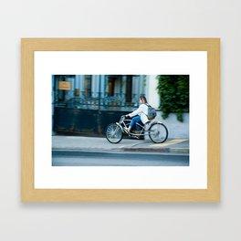the girl on the bike Framed Art Print