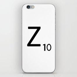 Letter Z - Custom Scrabble Letter Tile Art - Scrabble Z Initial iPhone Skin
