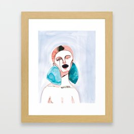 Lizzy - Red Hair, Black Lips Framed Art Print