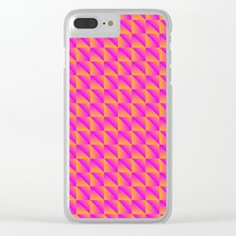 Pattern of pink squares and orange triangles in a zigzag. Clear iPhone Case