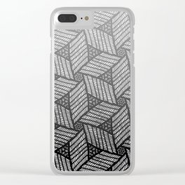 Japanese style wood carving pattern in gray Clear iPhone Case