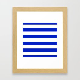 Cobalt Blue and White Wide Cabana Tent Stripe Framed Art Print