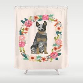 Australian Cattle Dog blue heeler floral wreath dog gifts pet portraits Shower Curtain