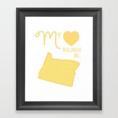 My Heart Belongs in Oregon Framed Art Print