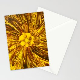 Abstract Lines Yellow  Flower Stationery Cards