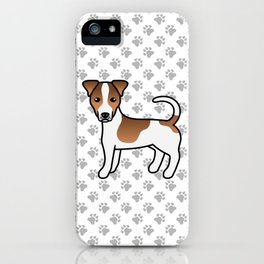 White And Tan Smooth Coat Jack Russell Terrier Dog Cute Cartoon Illustration iPhone Case