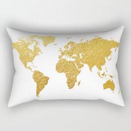 World Map Gold Foil Rectangular Pillow