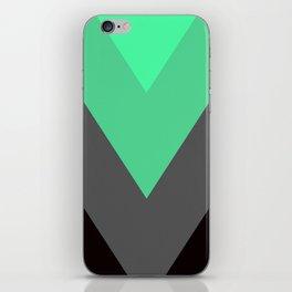 Mint Green Gray Chevron Stripes iPhone Skin