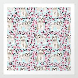 Shih Tzu dog breed florals pattern cherry blossom spring pet friendly gifts Art Print