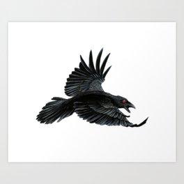 Black Crow Red Eyes Art Print
