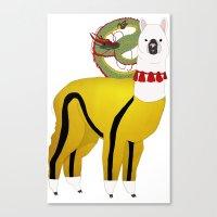 alpaca Canvas Prints featuring Alpaca by Mariia Komatsu