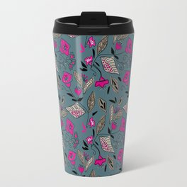 Floral gray Magenta Travel Mug
